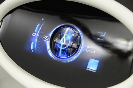 A prototype rear projection car dashboard developed by Mitsubishi Electric, on show at Ceatec 2013 in Japan.