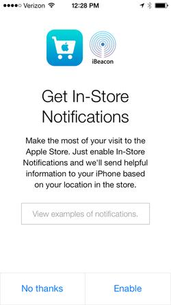 New iBeacon integration for the Apple Store app, as pictured on Dec. 6, 2013.