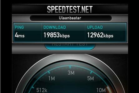 Speedtest in Ulaanbaator, Mongolia, conducted by a Computerworld journalist.