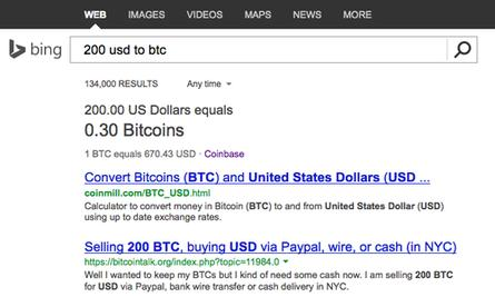 Bing's Bitcoin conversion tool at work.