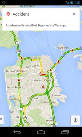 Google's Maps app includes more real-time traffic reports via Waze's technology.