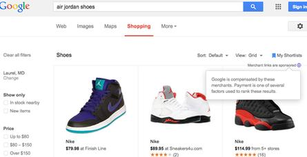 Here are search results for Air Jordan shoes on Google Shopping.