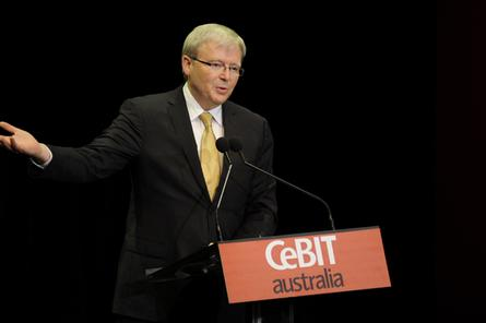 Prime Minister Kevin Rudd at CeBit in 2011.