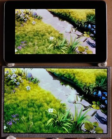 HDMIPi LCD monitor prototype vs Google Nexus 7 screen