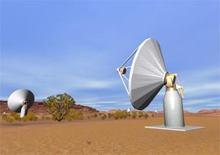 A visualisation of ASKAP antennas at the Australian candidate SKA site. <i>Image credit:</i> Paul Bourke