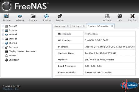 FreeNAS 8 uses a Django-driven GUI.