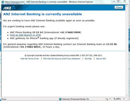 ANZ internet banking offline -- updated