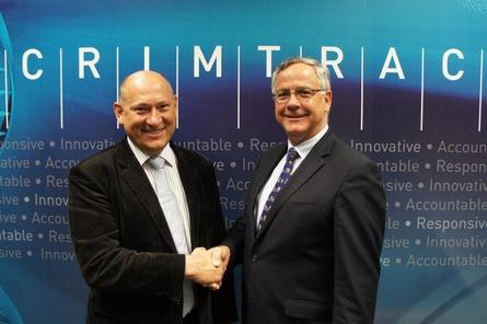 TransACT CEO Ivan Slavich (left) and CrimTrac CEO Doug Smith. Credit: iiNet