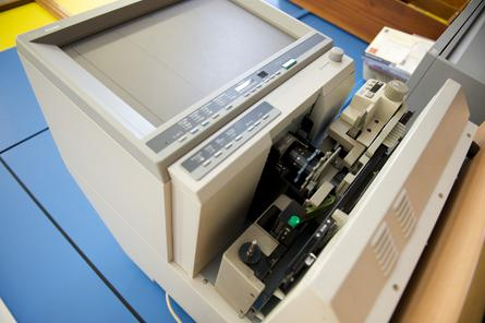 A microfiche reader similar to the machines used by the DoHA