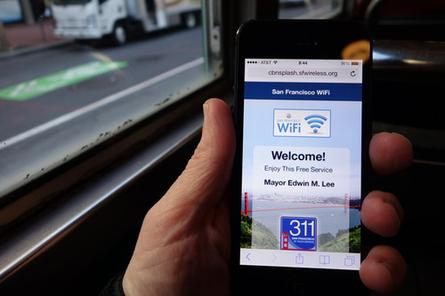 The splash screen for San Francisco's free Wi-Fi service, inaugurated on Monday.