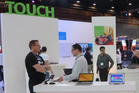Microsoft has a large number of tablets and other touch-enabled Windows 8 devices on display at TechEd. Credit: Adam Bender