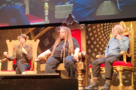 BBC Radio 4's Aleks Krotoski, virtual reality pioneer Jaron Lanier and Wired founder Kevin Kelly (left to right).