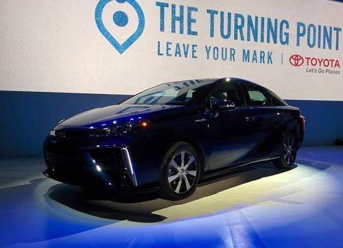 Toyota's Mirai hydrogen fuel cell vehicle on show at CES 2015 in Las Vegas on January 5, 2015