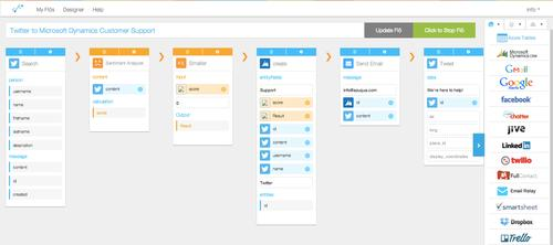 Azuqua's software uses workflows called Flos to stitch together cloud services
