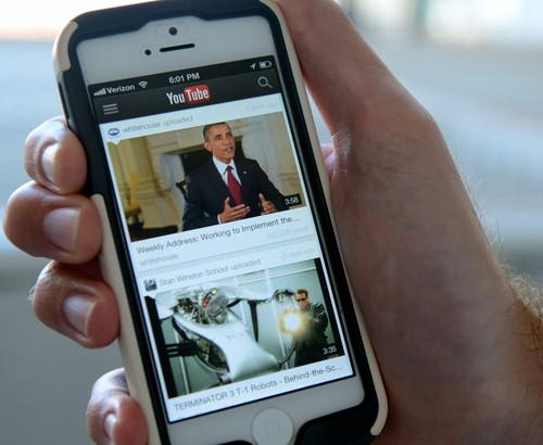 Youtube's mobile app is pictured on August 19, 2013.