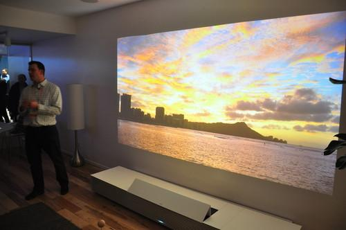 Sony demoes its 4K Ultra Short Throw Projector, available this summer for about USD$30,000 to $40,000.