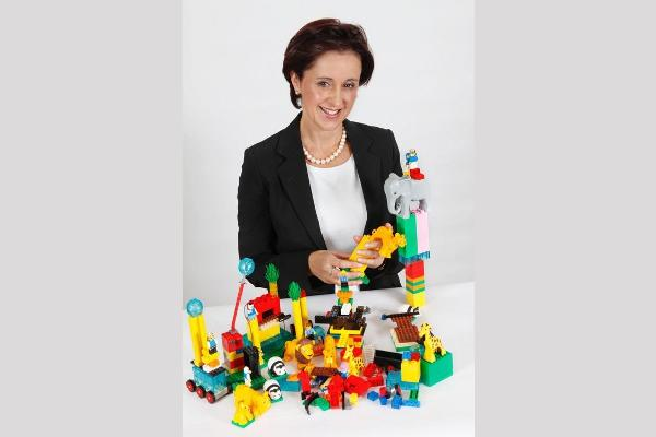 Denise Meyerson playing with LEGO