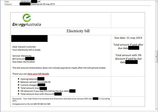 A copy of the EnergyAustralia email scam.
