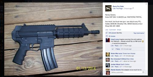 A gun offered for sale on Facebook's site.