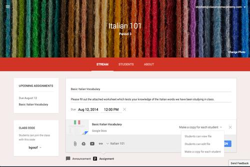 Google started to rollout Classroom, a tool for Apps for Education customers designed to help teachers with various school tasks.