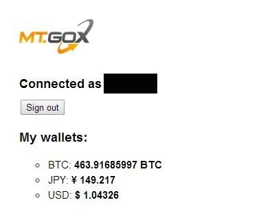 This screenshot provided by Mt. Gox investor Aaron G., who did not want his last name used, shows balances after the failed bitcoin exchange reactivated its login function. The bitcoin balance is about US$286,700 according to the value of the digital currency on other exchanges.