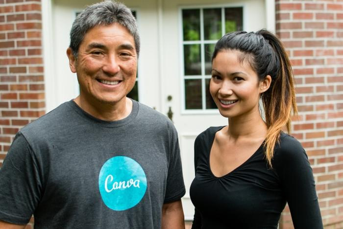 Canva chief evangelist Guy Kawasaki and CEO Melanie Perkins. Credit: Canva