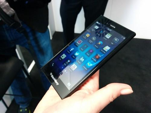 The BlackBerry Z3 smartphone on show at Mobile World Congress in Barcelona on February 25, 2014