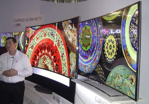 LG's 105-in. curved screen UHD-LCD TV on display at CES in January.