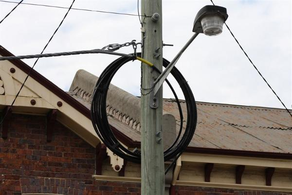 Picture taken last month of overhead fibre on electricity poles in Launceston.