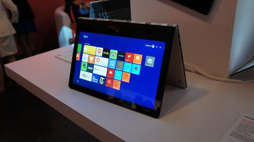 The Lenovo Yoga 3 Pro in tent mode