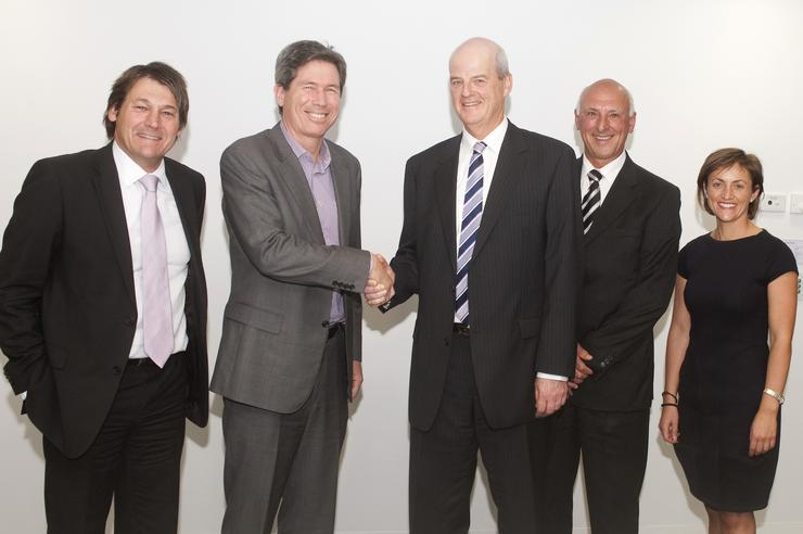 From left to right, Ian Poole, UXC Connect; Sean Cox, Melbourne Water managing director; Geoff Cosgriff, UXC chairman; Kingsley Culley, UXC non-executive director; Viviann Zavlanos, Melbourne Water CIO. Credit: UXC Connect