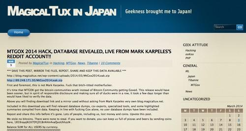Hackers claim to have compromised the blog of Mt. Gox CEO Mark Karpeles, which went offline on Sunday, and stolen a database belonging to the defunct exchange.