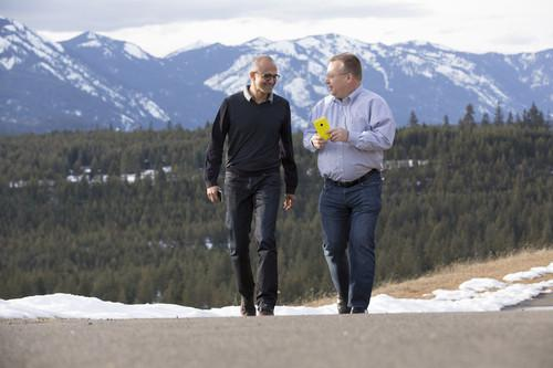 Microsoft CEO, Satya Nadella (left), and executive vice-president of Microsoft Devices Group, Stephen Elop, share a moment