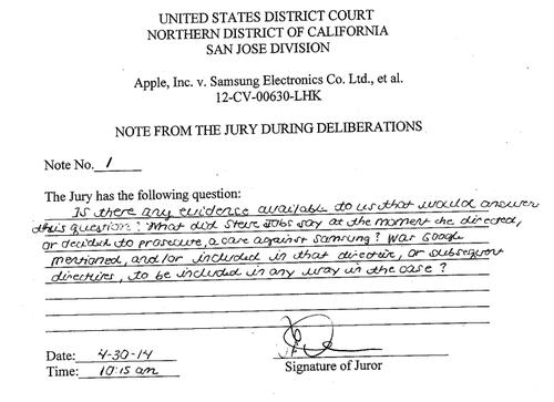 A note from the Apple Samsung jury asks what Steve Jobs said when he decided to sue Samsung
