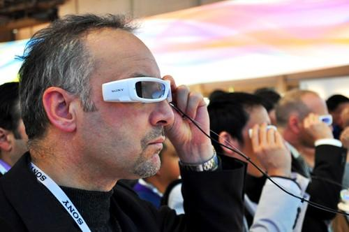 Sony's SmartEyeglass prototype is shown off at CES 2014 in Las Vegas in January.