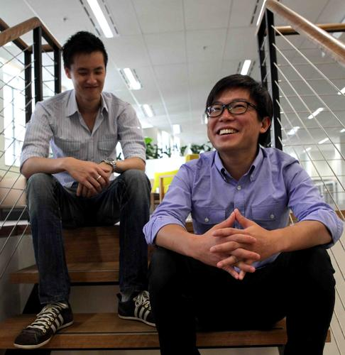 Airtasker founder Jonathan Lui (left) and Tim Fung
