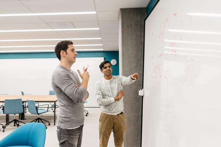 Dropbox's storage team lead James Cowling with VP of engineering, infrastructure Akhil Gupta