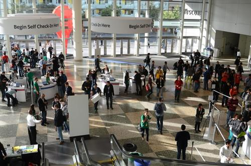 Attendees enter the Google IO conference at San Francisco's Moscone Center on May 15, 2013