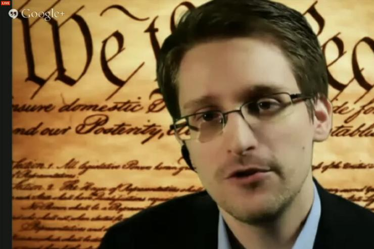 Edward Snowden speaks via video link to the SXSW conference on March 10, 2014.