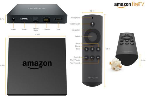 Amazon's Fire TV set-top box and remote control