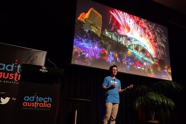 b2cloud managing director Josh Guest wearing Google Glass at the ad: tech conference in Sydney.