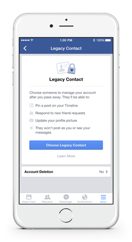 Facebook users in the U.S. can now appoint a heir who will take care of their profiles when they are dead.