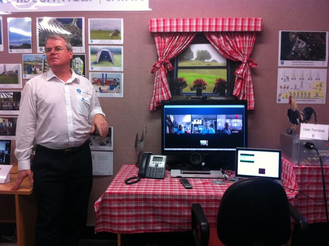 CSIRO Ngara program manager, David Robertson, demonstrates four-way videoconferencing over Skype between four user terminals connected to the on-site fixed wireless base station.
