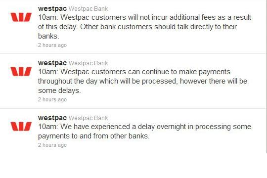 Updates on Westpac's Twitter page