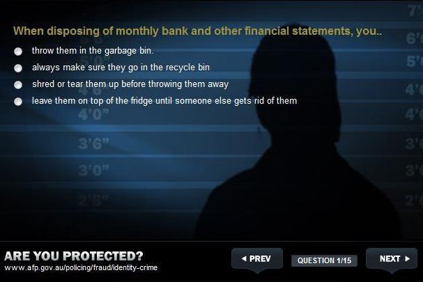 Screenshot taken from the Australian Federal Police website.