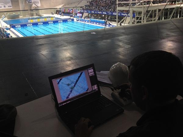 A Getty Images photographer testing the robotics camera setup which is controlled via a laptop. Photo supplied by Getty Images.