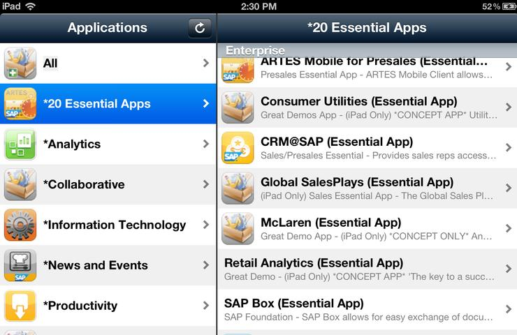 SAP's enterprise app store running on an iPad.