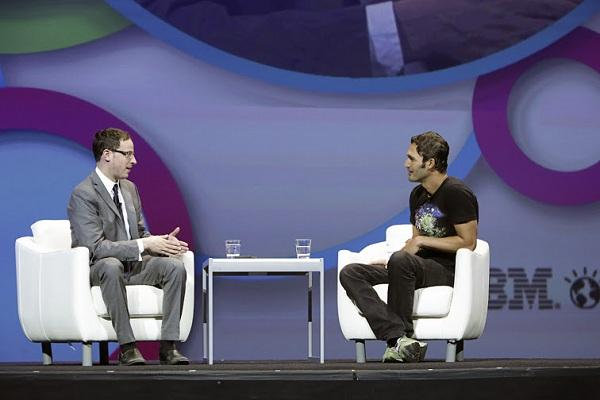 Political statistician Nate Silver (left) talks to conference MC Jason Silva,
