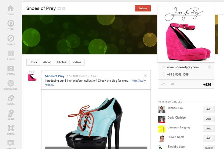 The Google+ page of Shoes of Prey, an online retailer based in Sydney.