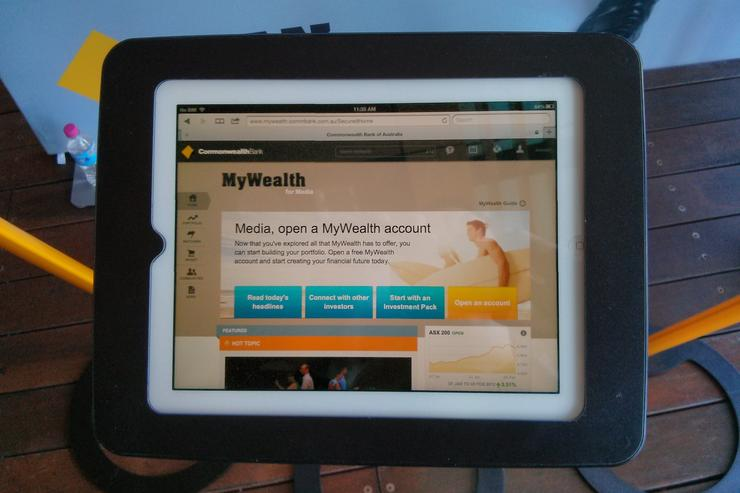 The new MyWealth website, demoed on an iPad.